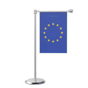 L Shape Table European Union Table Flag With Stainless Steel Base And Pole