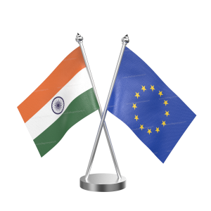 European Union Table Flag With Stainless Steel Base And Pole
