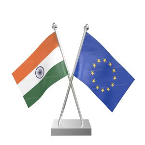 European Union Table Flag With Stainless Steel Square Base And Pole