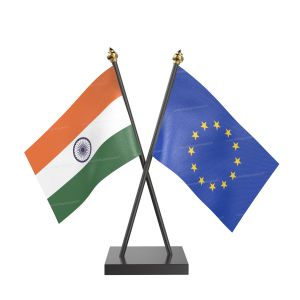 European union Table Flag With Black Acrylic Base And Gold Top
