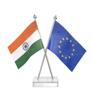 European union Table Flag With Stainless Steel pole and transparent acrylic base silver top