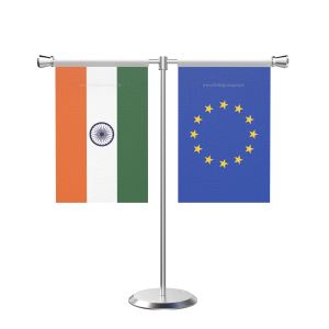 European Union T Shaped Table Flag with Stainless Steel Base and Pole