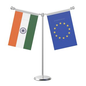 Y Shaped European union Table Flag with Stainless Steel Base and Pole