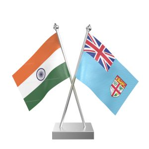 Fiji Table Flag With Stainless Steel Square Base And Pole