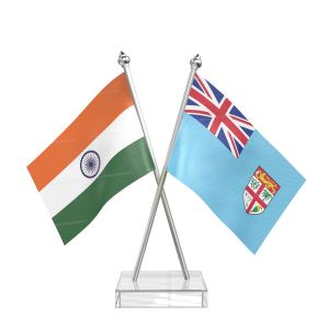 Fiji Table Flag With Stainless Steel pole and transparent acrylic base silver top