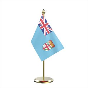 Single Fiji Table Flag With Brass Base And Brass Pole