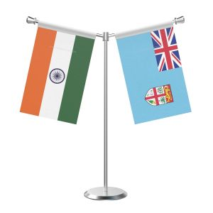 Y Shaped Fiji Table Flag with Stainless Steel Base and Pole