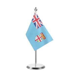 """Single Fiji Table Flag with Stainless Steel Base and Pole with 15"""" pole"""