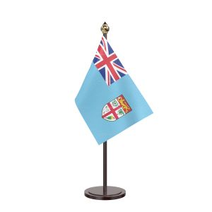 Fiji Table Flag With Black Acrylic Base And Gold Top