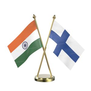 Finland Table Flag With Brass Base And Brass Pole