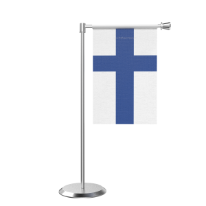 L Shape Table Finland Table Flag With Stainless Steel Base And Pole