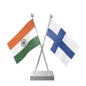 Finland Table Flag With Stainless Steel Square Base And Pole