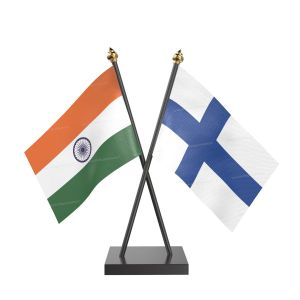 Finland Table Flag With Black Acrylic Base And Gold Top