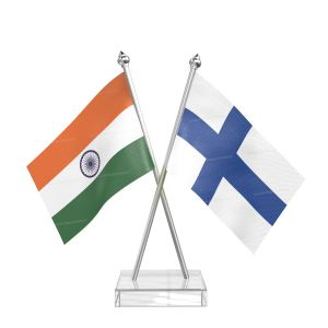 Finland Table Flag With Stainless Steel pole and transparent acrylic base silver top