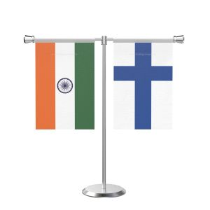 Finland T Shaped Table Flag with Stainless Steel Base and Pole