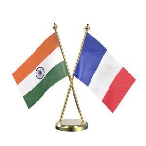 France Table Flag With Brass Base And Brass Pole
