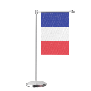 L Shape Table France Table Flag With Stainless Steel Base And Pole