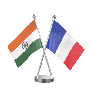 France Table Flag With Stainless Steel Base And Pole