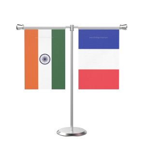 France T Shaped Table Flag with Stainless Steel Base and Pole