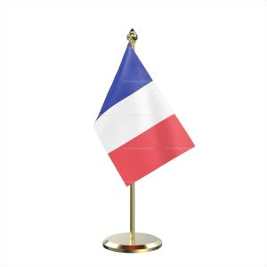 Single France Table Flag With Brass Base And Brass Pole