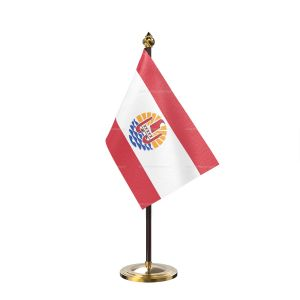 France Polynesia Table Flag With Golden Base And Plastic pole