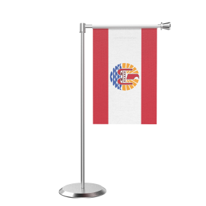 L Shape Table Frence Polynesia Table Flag With Stainless Steel Base And Pole