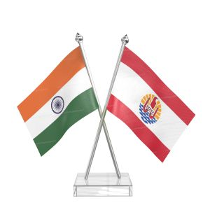 Frence polynesia Table Flag With Stainless Steel pole and transparent acrylic base silver top