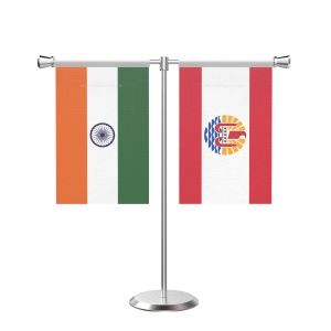 Frence Polynesia T Shaped Table Flag with Stainless Steel Base and Pole