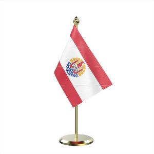 Single Frence Polynesia Table Flag With Brass Base And Brass Pole