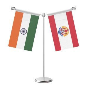Y Shaped Frence polynesia Table Flag with Stainless Steel Base and Pole