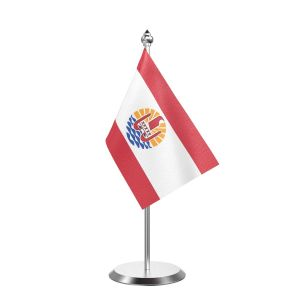 """Single Frence Polynesia Table Flag with Stainless Steel Base and Pole with 15"""" pole"""