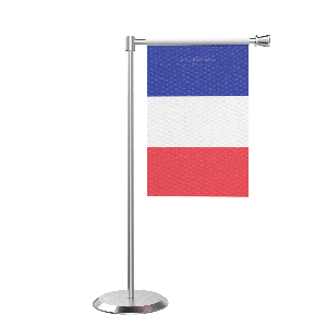 L Shape Table French Guiana Table Flag With Stainless Steel Base And Pole