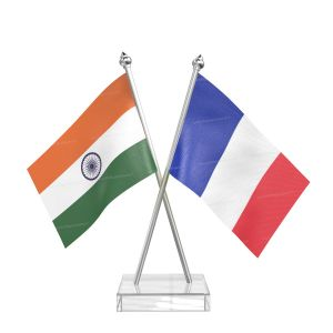 French guiana Table Flag With Stainless Steel pole and transparent acrylic base silver top