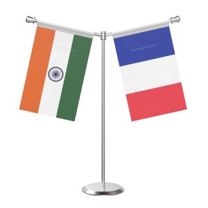 Y Shaped French guiana Table Flag with Stainless Steel Base and Pole