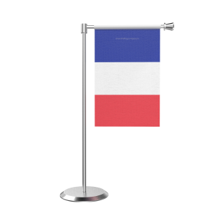 L Shape Table French Southern Territories Table Flag With Stainless Steel Base And Pole