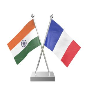 French Southern Territories Table Flag With Stainless Steel Square Base And Pole