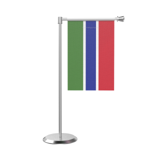 L Shape Table Gambia Table Flag With Stainless Steel Base And Pole