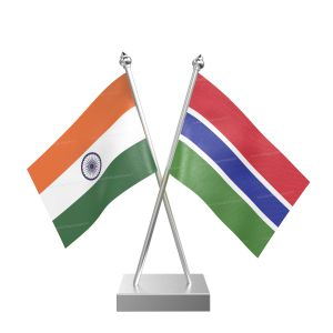 Gambia Table Flag With Stainless Steel Square Base And Pole