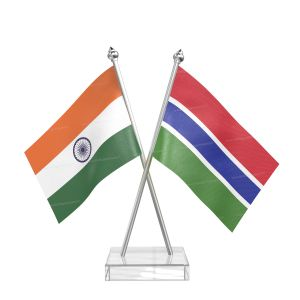 Gambia Table Flag With Stainless Steel pole and transparent acrylic base silver top