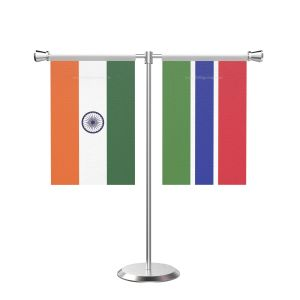 Gambia T Shaped Table Flag with Stainless Steel Base and Pole