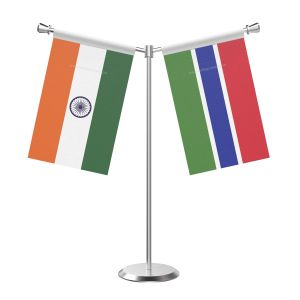 Y Shaped Gambia Table Flag with Stainless Steel Base and Pole