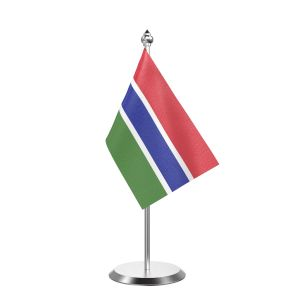 """Single Gambia Table Flag with Stainless Steel Base and Pole with 15"""" pole"""