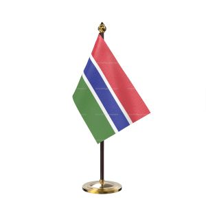 Gambia Table Flag With Golden Base And Plastic pole
