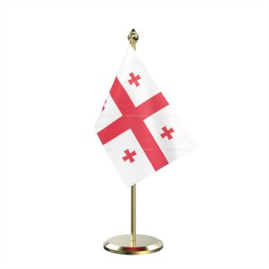 Single Georgia Table Flag With Brass Base And Brass Pole