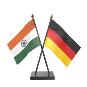 Germany Table Flag With Black Acrylic Base And Gold Top