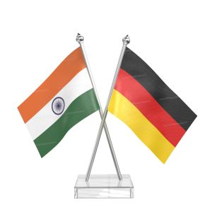 Germany Table Flag With Stainless Steel pole and transparent acrylic base silver top