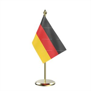 Single Germany Table Flag With Brass Base And Brass Pole
