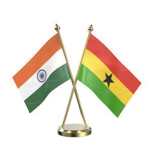 Ghana Table Flag With Brass Base And Brass Pole