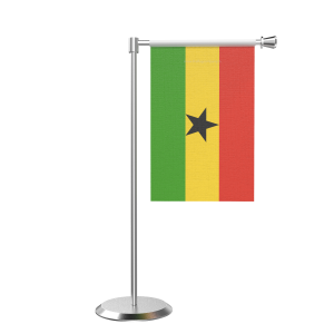 L Shape Table Ghana Table Flag With Stainless Steel Base And Pole