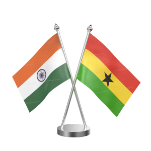 Ghana Table Flag With Stainless Steel Base and Pole